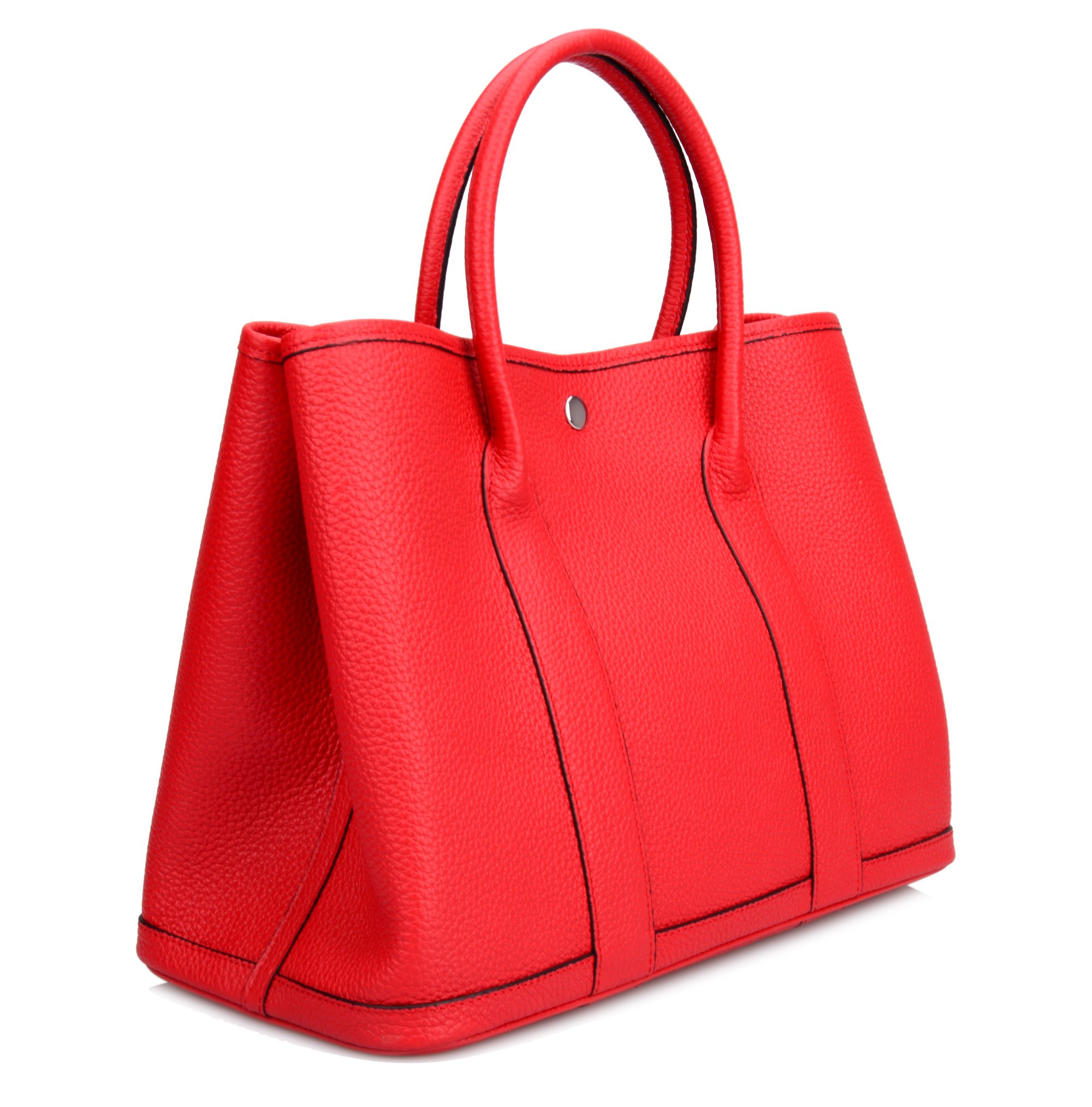 Ainifeel Women's Genuine Leather Top Handle Handbag Shopping Bag Tote Bag (Red)
