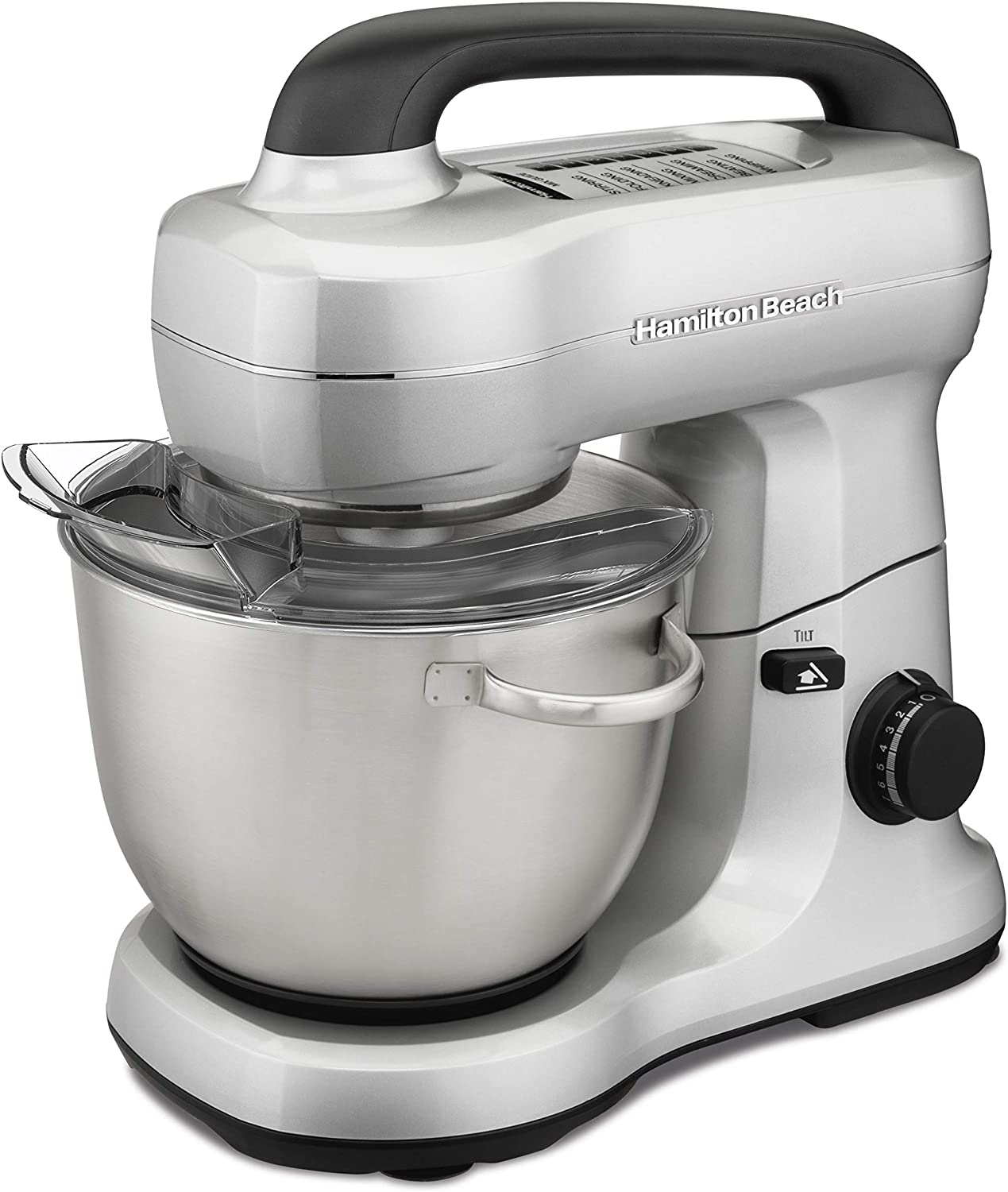 Hamilton Beach Electric Stand Mixer, 4 Quarts, 7 Speeds with Whisk, Dough Hook, Flat Beater Attachments, Splash Guard, Silver 63392