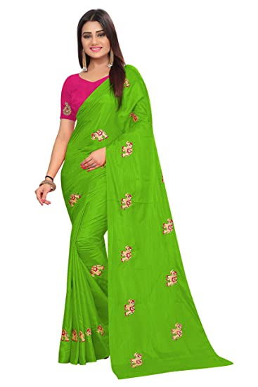 ccfae8e7af330f Radiance Star Women s Elephant Figure Embroidery Work Paper Silk Saree With  Blouse Piece  Amazon.in  Clothing   Accessories