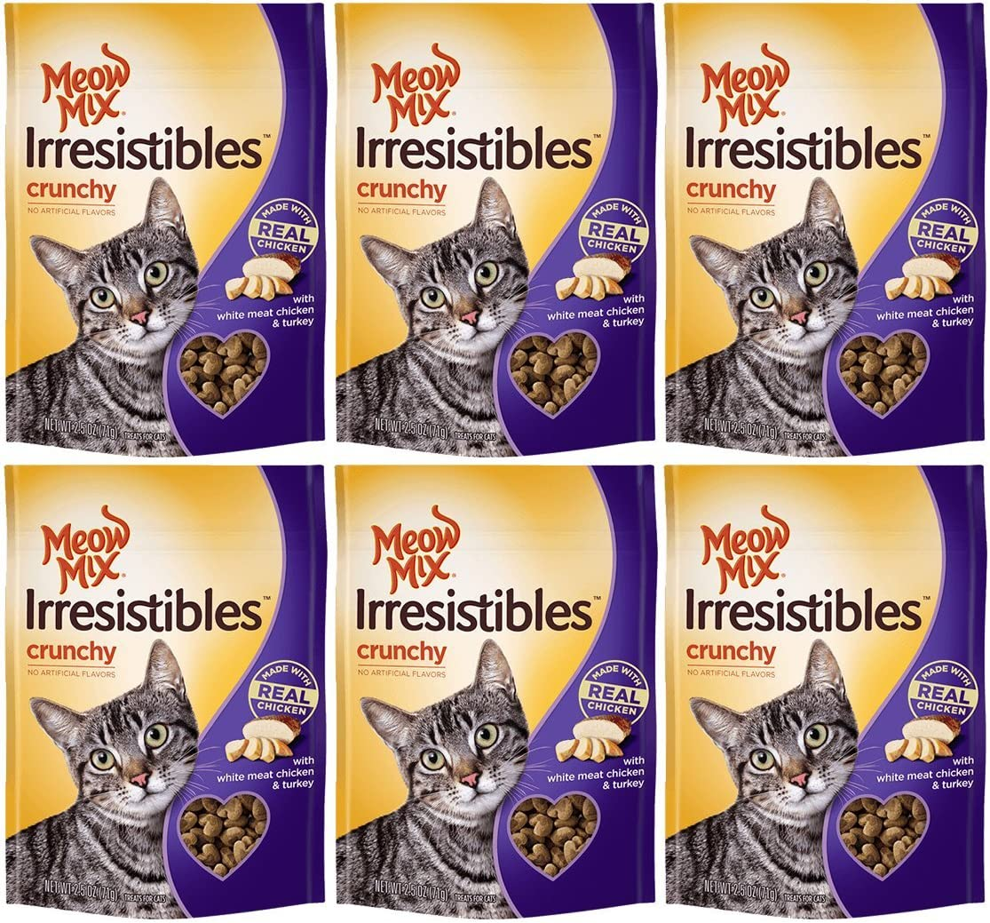 Meow Mix Irresistibles Cat Treats – Crunchy – Chicken – Net Wt. 2.5 OZ 71 g Each – Pack of 6