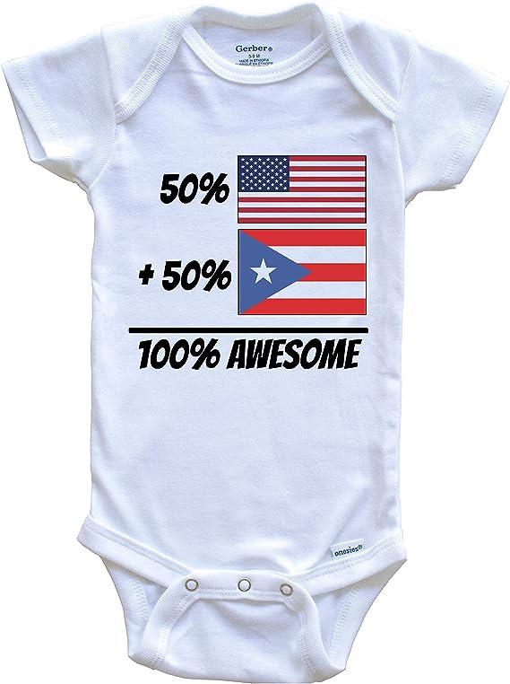 Puerto Rican Flag Onesie Cute Puerto Rican Flag Heart Puerto Rico Baby Bodysuit