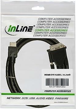 InLine HDMI-DVI Adapterkabel 19pol Stecker auf 18+1 Stecker mit Ferrit 0,5m