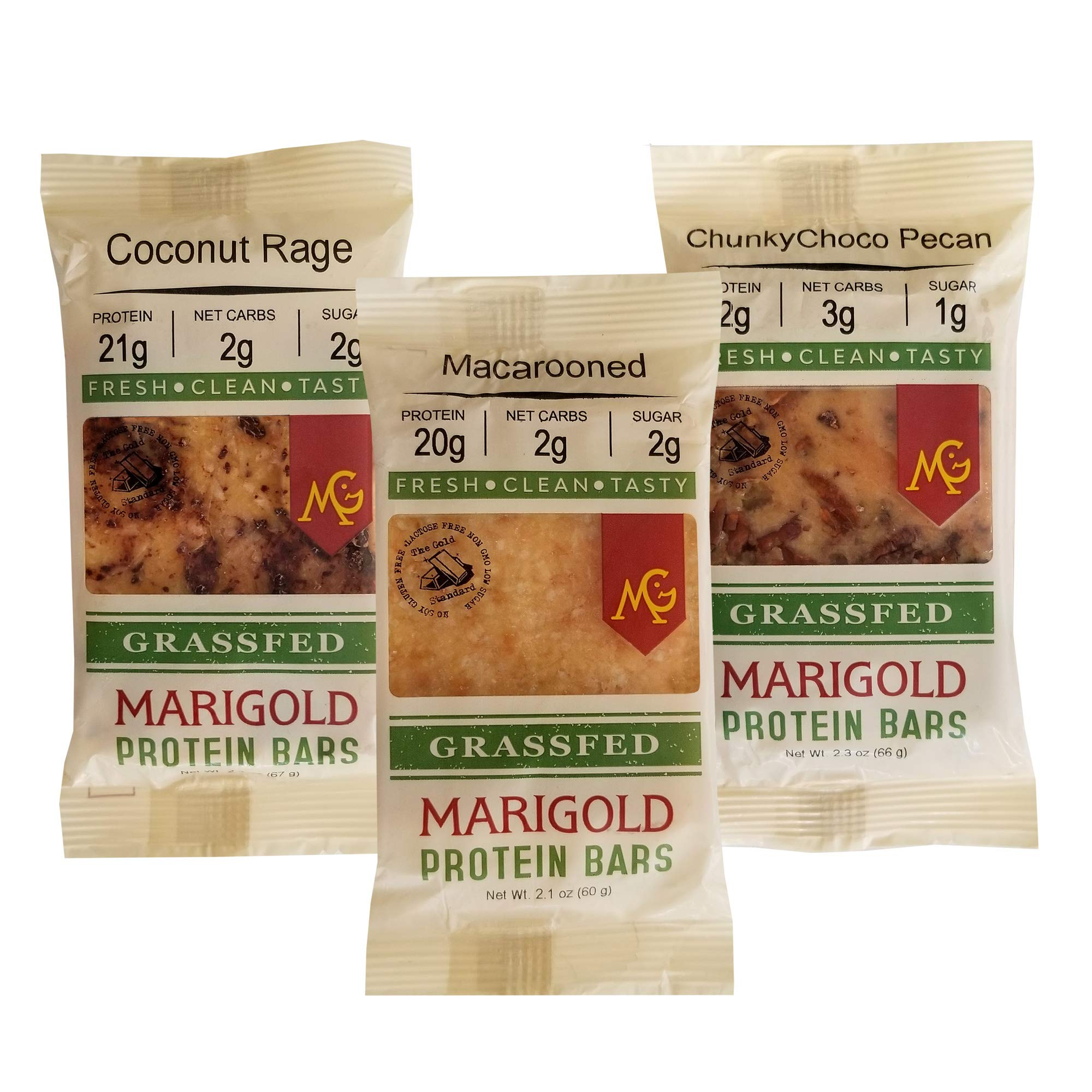 #1 PALEO Friendly - PRIMAL Protein Bars by MariGold-Sampler Pack (Mix #3: Coconut Rage, Macarooned, ChunkyChoco Pecan (4 each)) by MariGold Bars