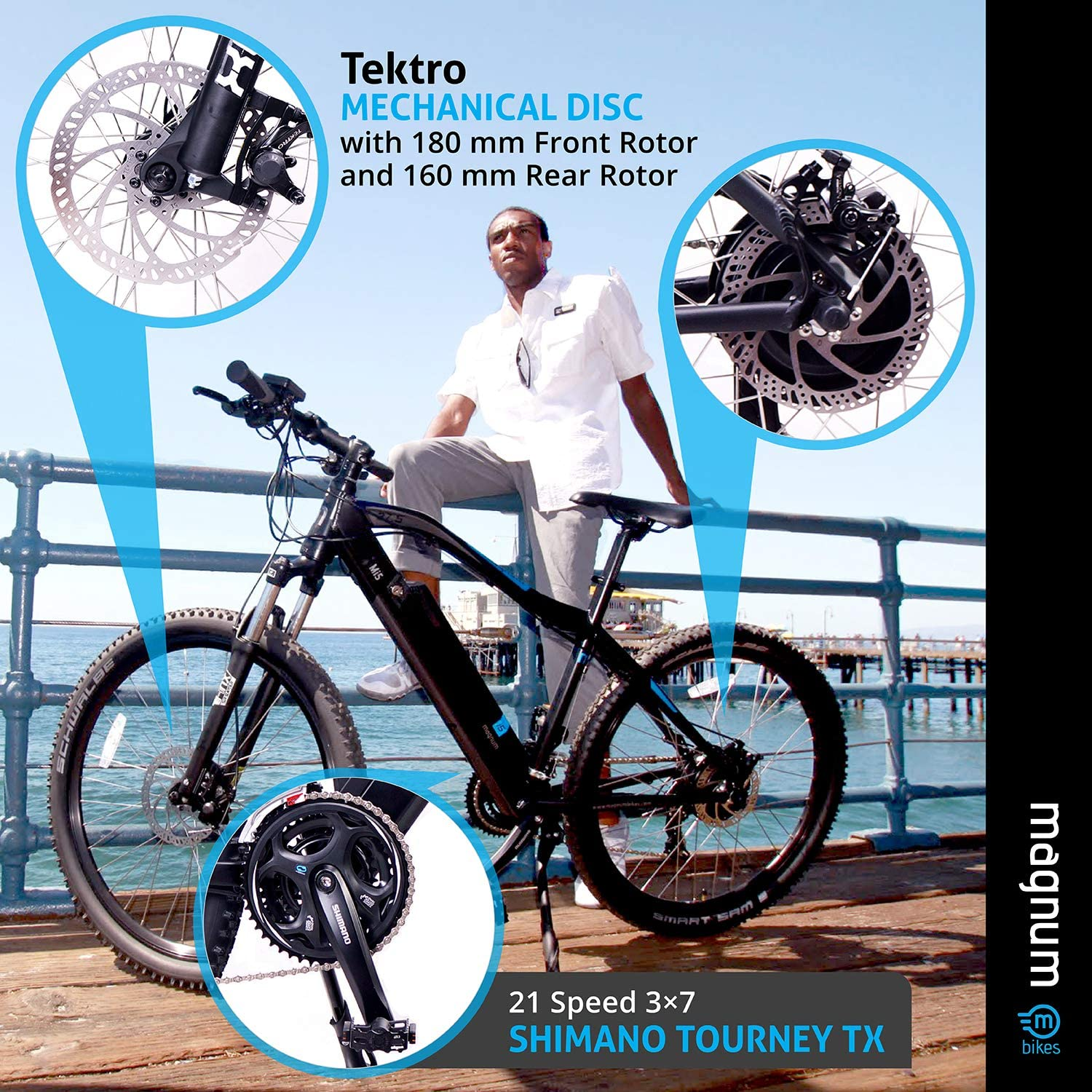 Rear Rack Magnum Mi5 Premium Electric Trail Bike 350W Motor Black with Blue Accents Large Capacity 36V13A Lithium Battery Trail Ready