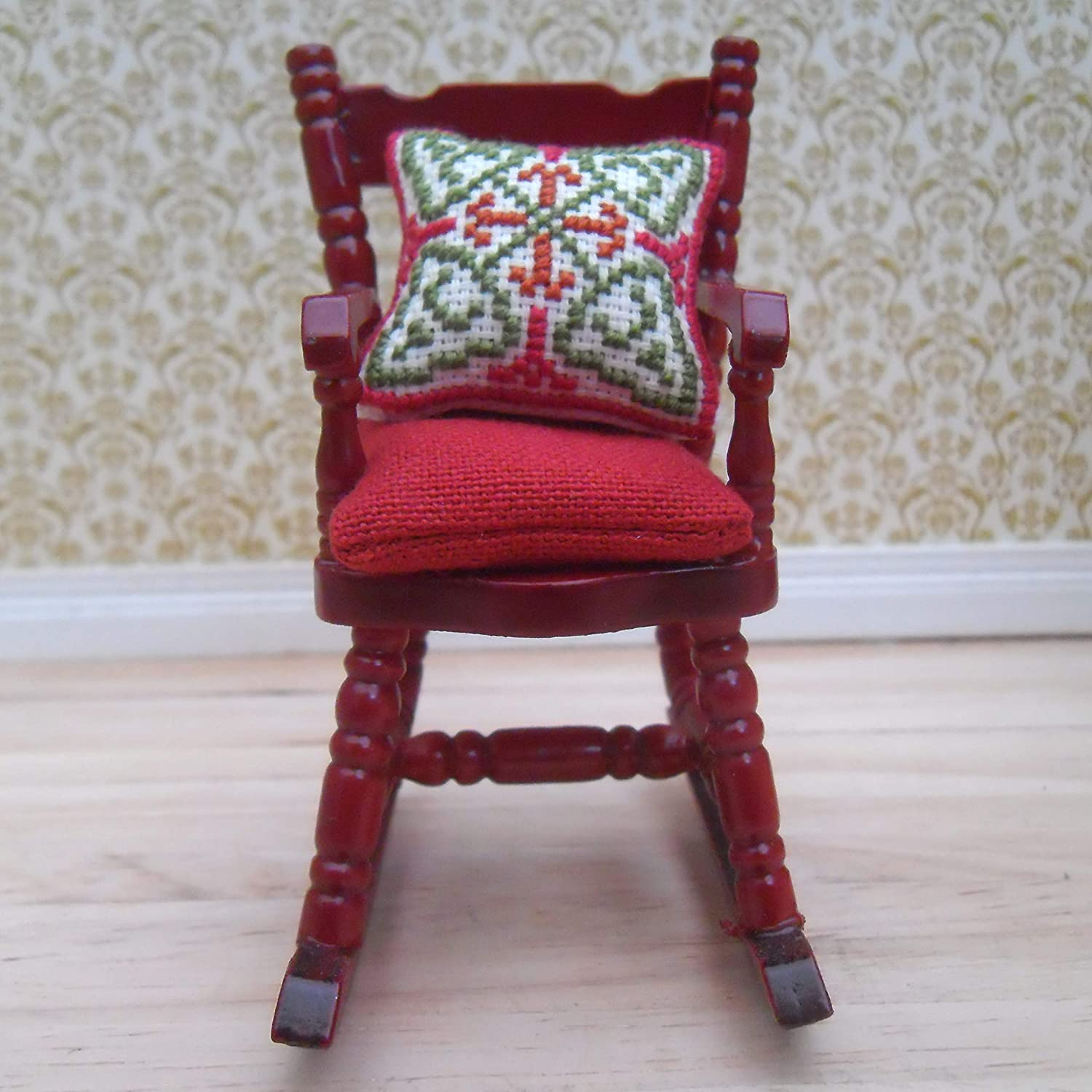 1//12th Scale Dolls House Rocking Chair with Hand Embroidered Geometric Design Cushion /& Red Seat Pad