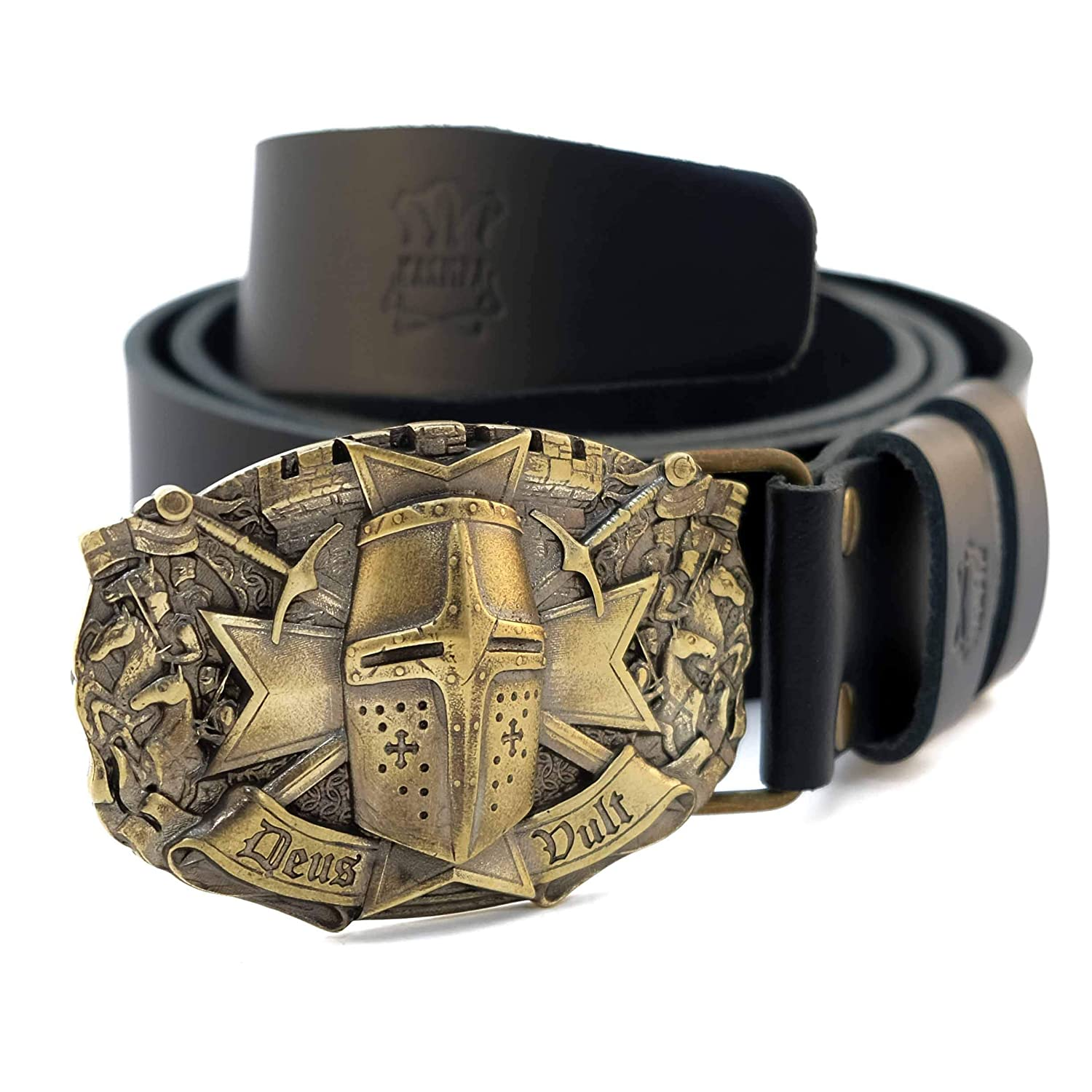"""Leather belt with brass buckle Templar/""""; knight order buckle; Crusader Knight"""