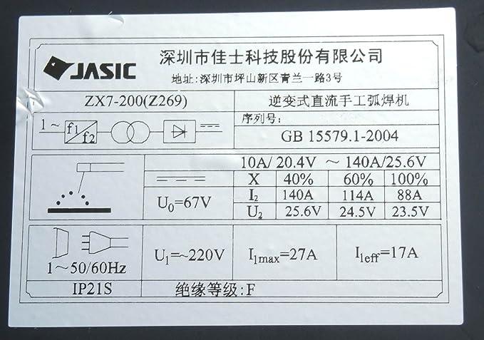 CHNsalescom JASIC ZX7-200 Z269 IGBT 220V MMA ARC Welding Machine: Amazon.es: Bricolaje y herramientas