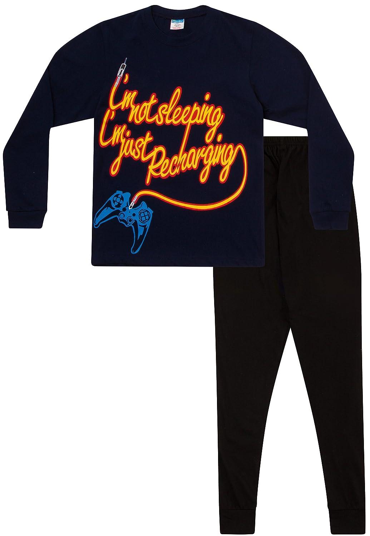 Boy's I'm Not Sleeping I'm Just Recharging Pyjamas 11 to 16 Years Blue