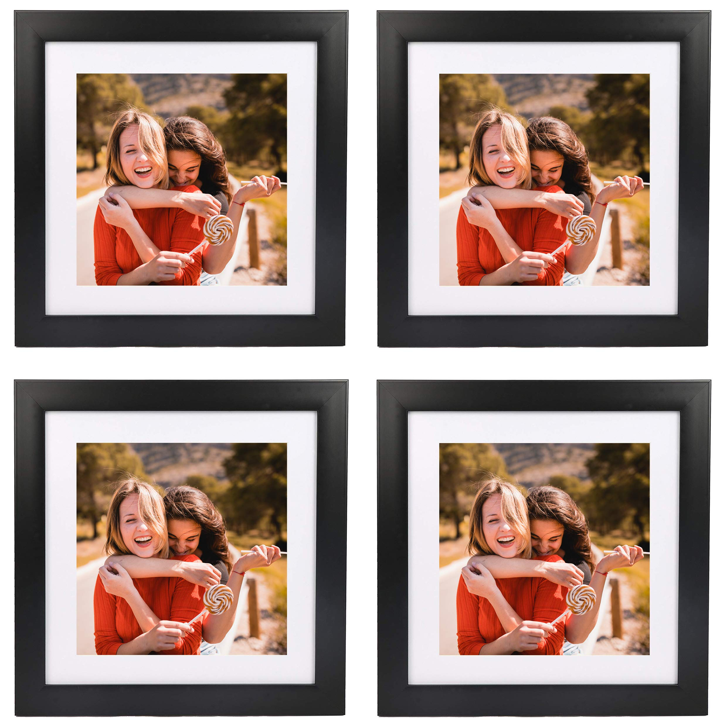 Beyond Your Thoughts 11X11 Picture Photo Instagram Frame (4 Pack) with Matted for 8X8 Black Color(Not Glass), Table Top and Wall Mounting Display by Beyond Your Thoughts