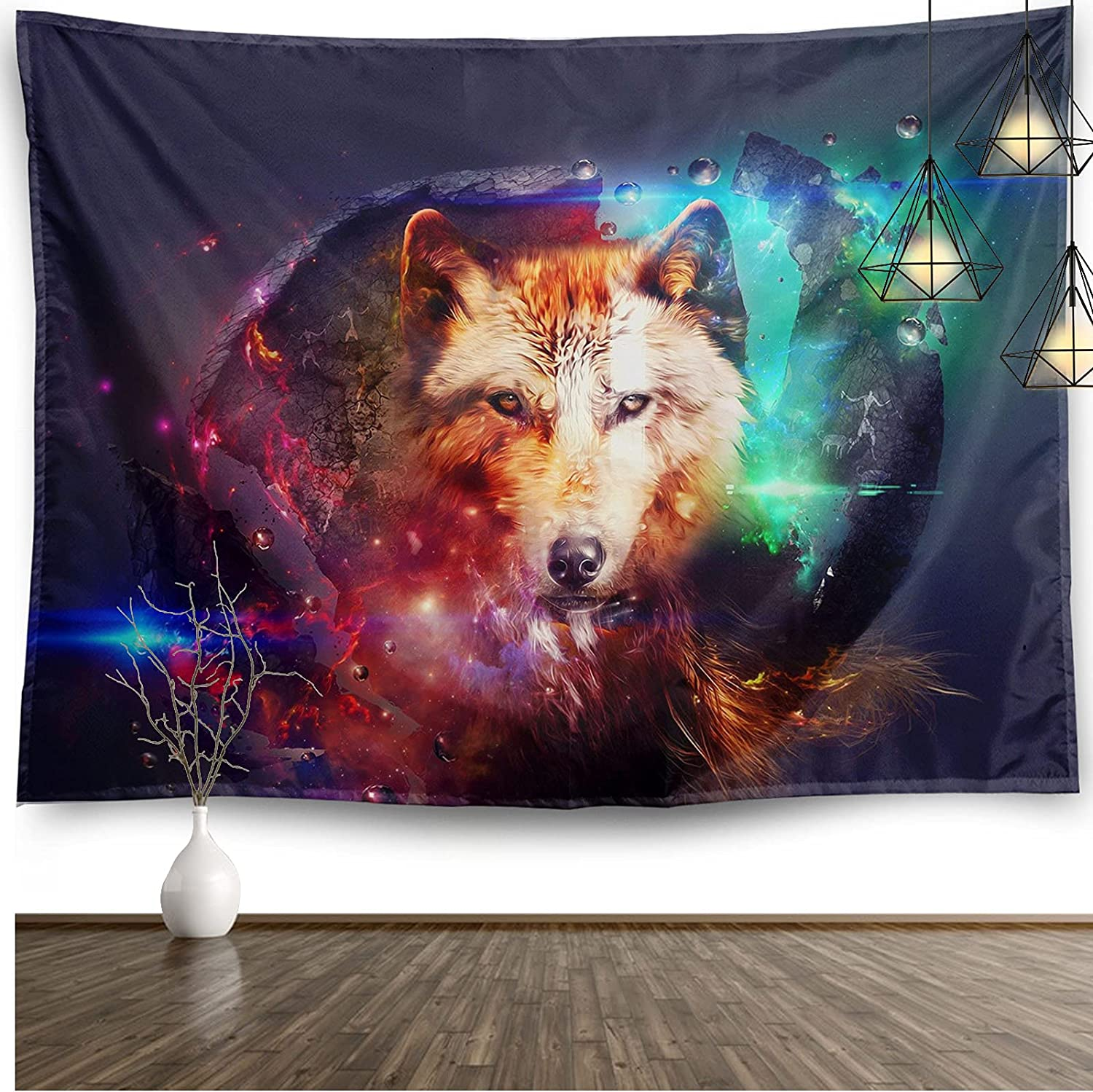 Wolf Animal Tapestry Home Decor Galaxy Blue Purple Small Wall Hanging Art Blanket for Teen Living Room Bedroom College Dorm Office Aesthetic Decor(60