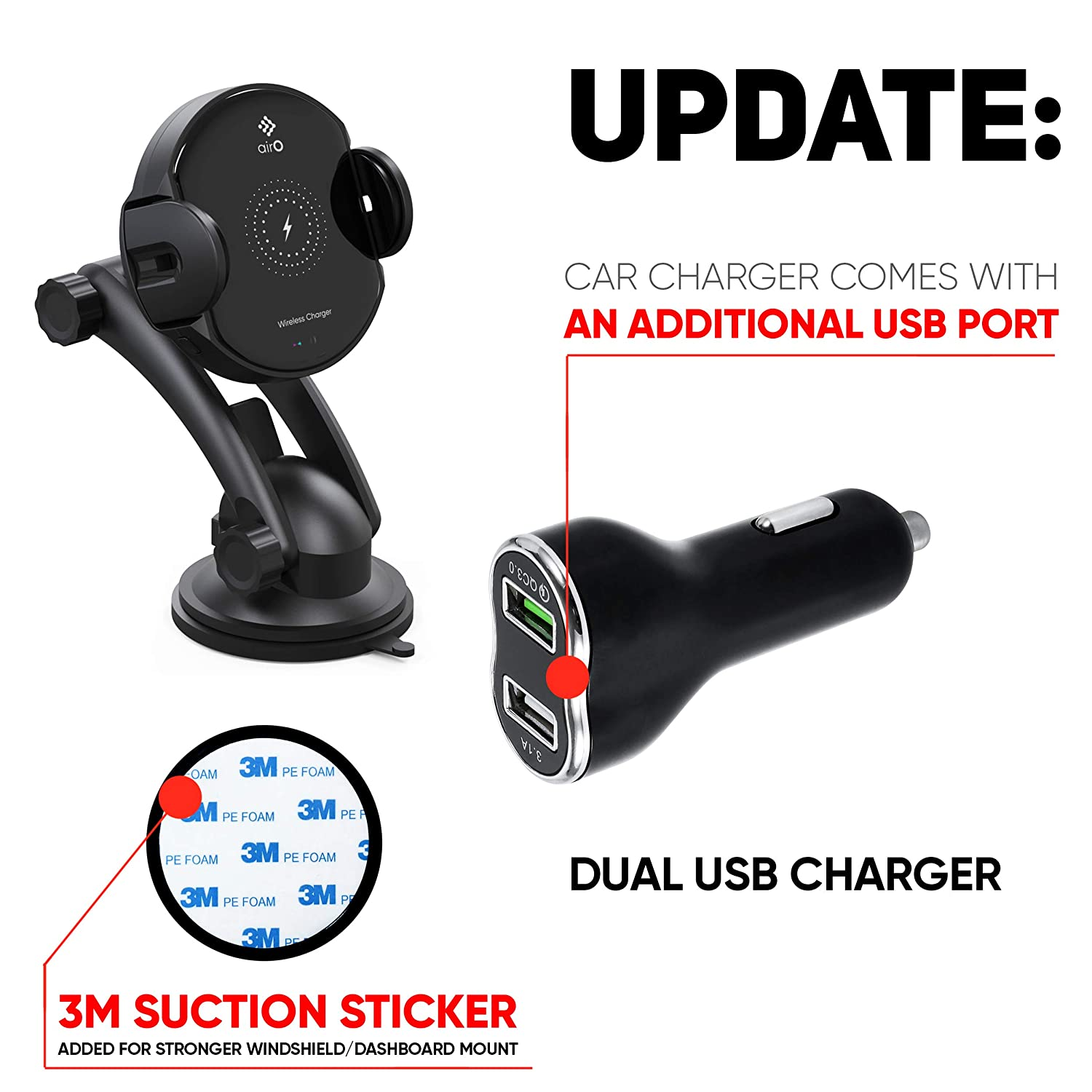 Samsung Galaxy S10 //S10+//S9 //S9+//S8 Wireless Car Charger Mount Auto Clamping 7.5W//10W Fast Charging Qi Car Phone Holder Holder Air Vent Dashboard Compatible for iPhone Xs//Xs Max//XR//X// 8//8 Plus