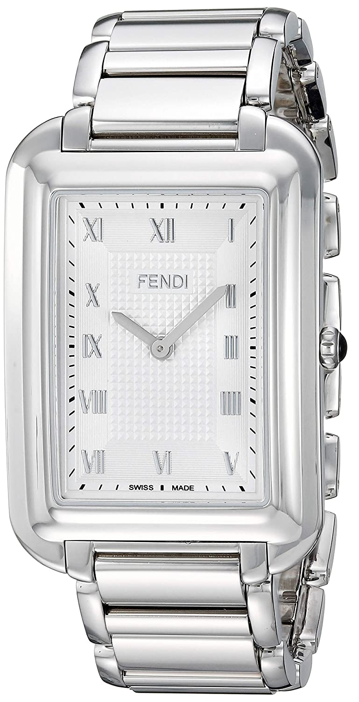 ddc35e5078b4 Amazon.com  Fendi Men s Classico Rect Swiss-Quartz Watch with Stainless- Steel Strap