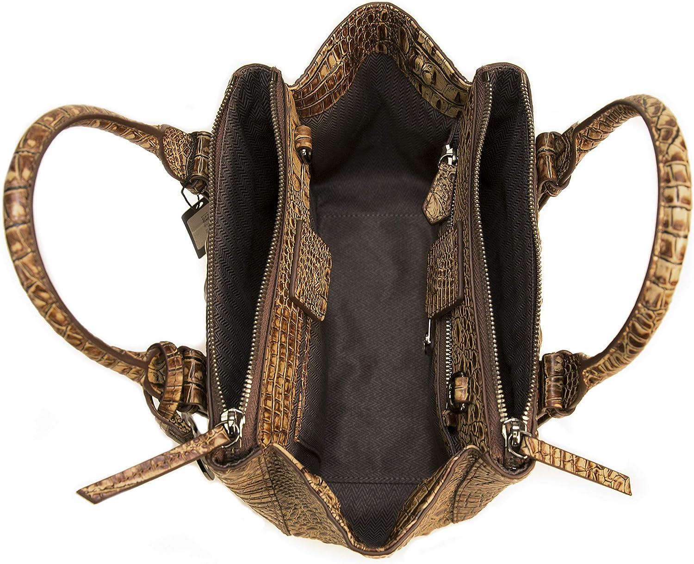 Raviani Turquoise Crocodile Embossed /& Brindle Hair on Hide Genuine Leather Satchel