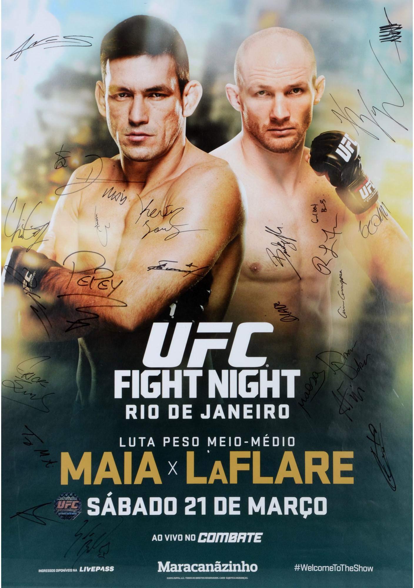 "UFC Fight Night 62 Maia vs. LaFlare Autographed 27"" x 39"" 24 Signature Event Poster Fanatics Authentic Certified"