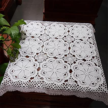 Hoomy Floral Handmade Crochet Tablecloth Square