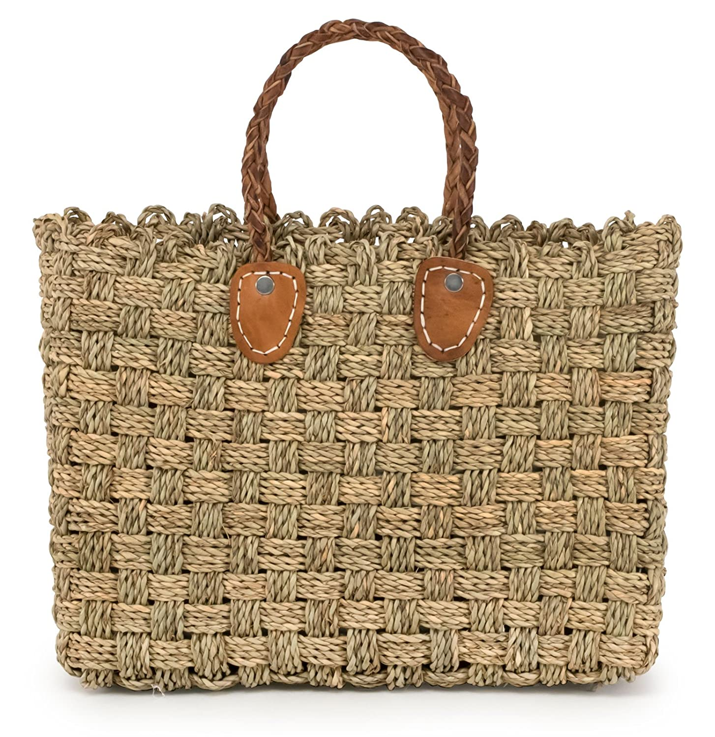 Moroccan Straw Tote Bag w Brown Leather Handles, 15.5 Lx5 Wx11.5 H – Granada Sm