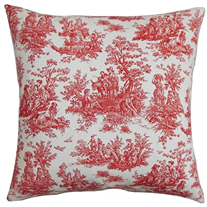 the pillow collection lalibela toile red white down filled throw pillow - The Pillow Collection