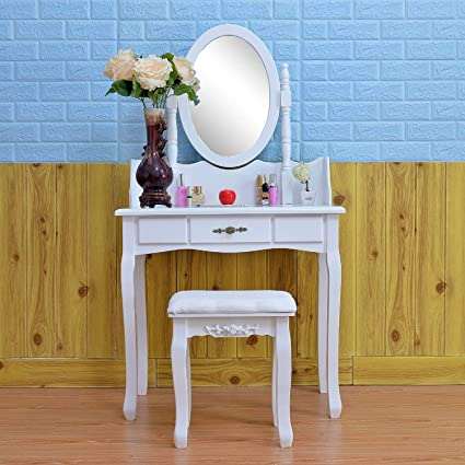 Makeup Vanity Set with Mirror Cushioned Stool Dressing Table Set Vanity  Makeup Desk Table Vantity Desk 1 b84b661cdf