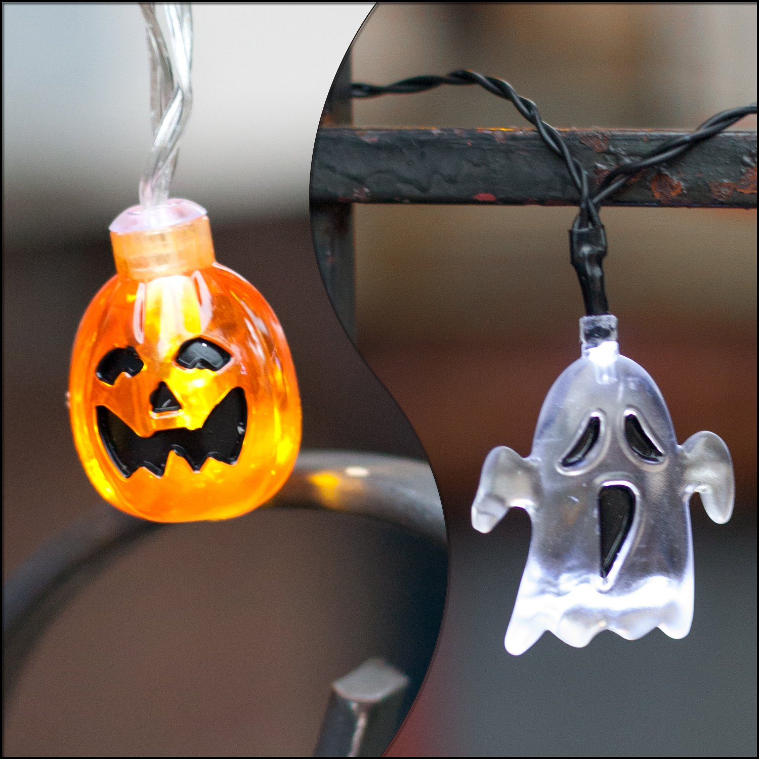 Set of 2 Halloween Themed Battery Operated String Lights with 10 LEDs - Ghost and Pumpkin by LampLust