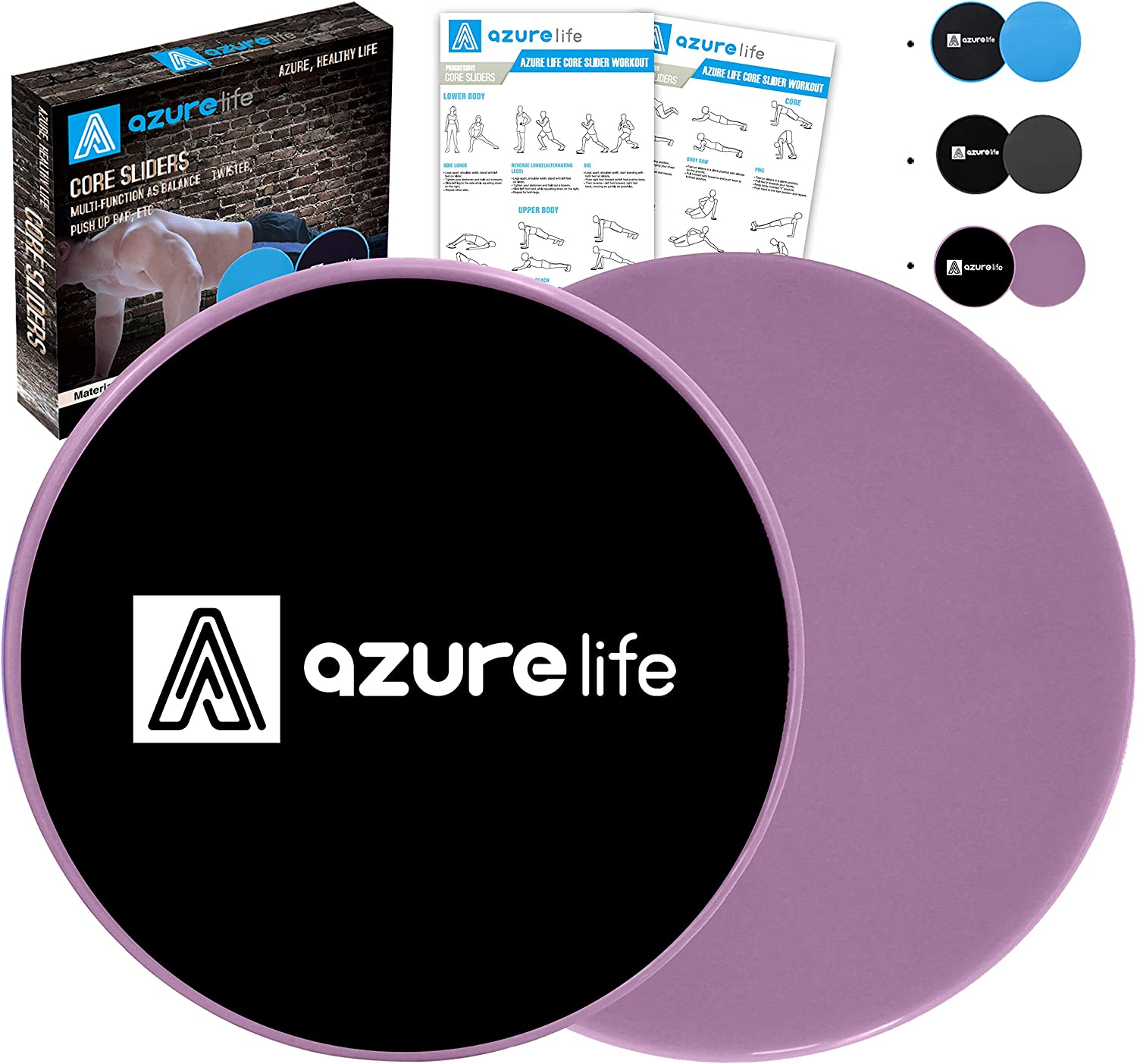 A AZURELIFE Exercise Core Sliders, 2 Pack Dual Sided Exercise Gliding Discs Use on All Surfaces, Light and Portable, Perfect for Abdominal&Core Workouts