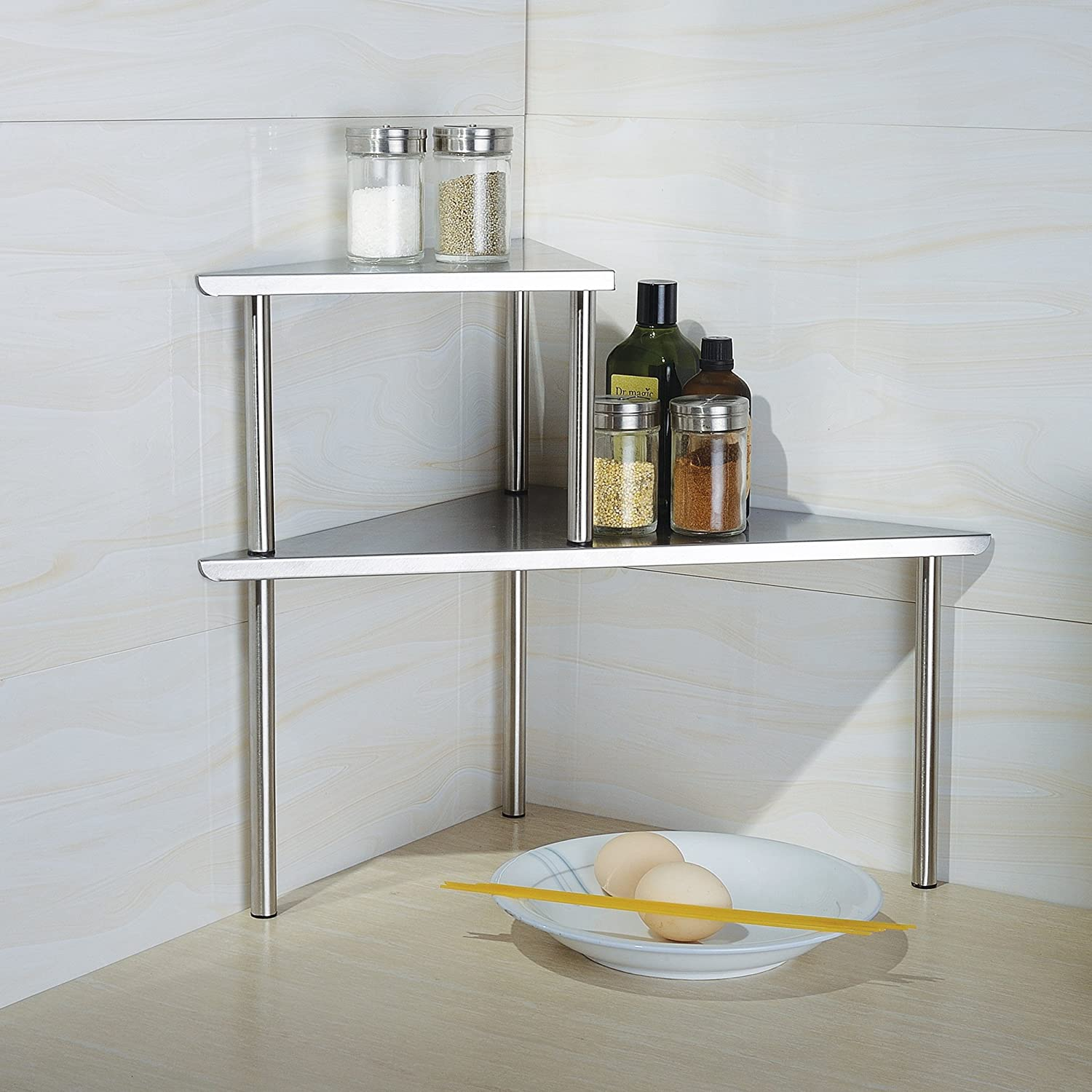 Interior Kitchen Countertop Storage amazon com cook n home 2 tier corner storage shelf stainless steel kitchen dining