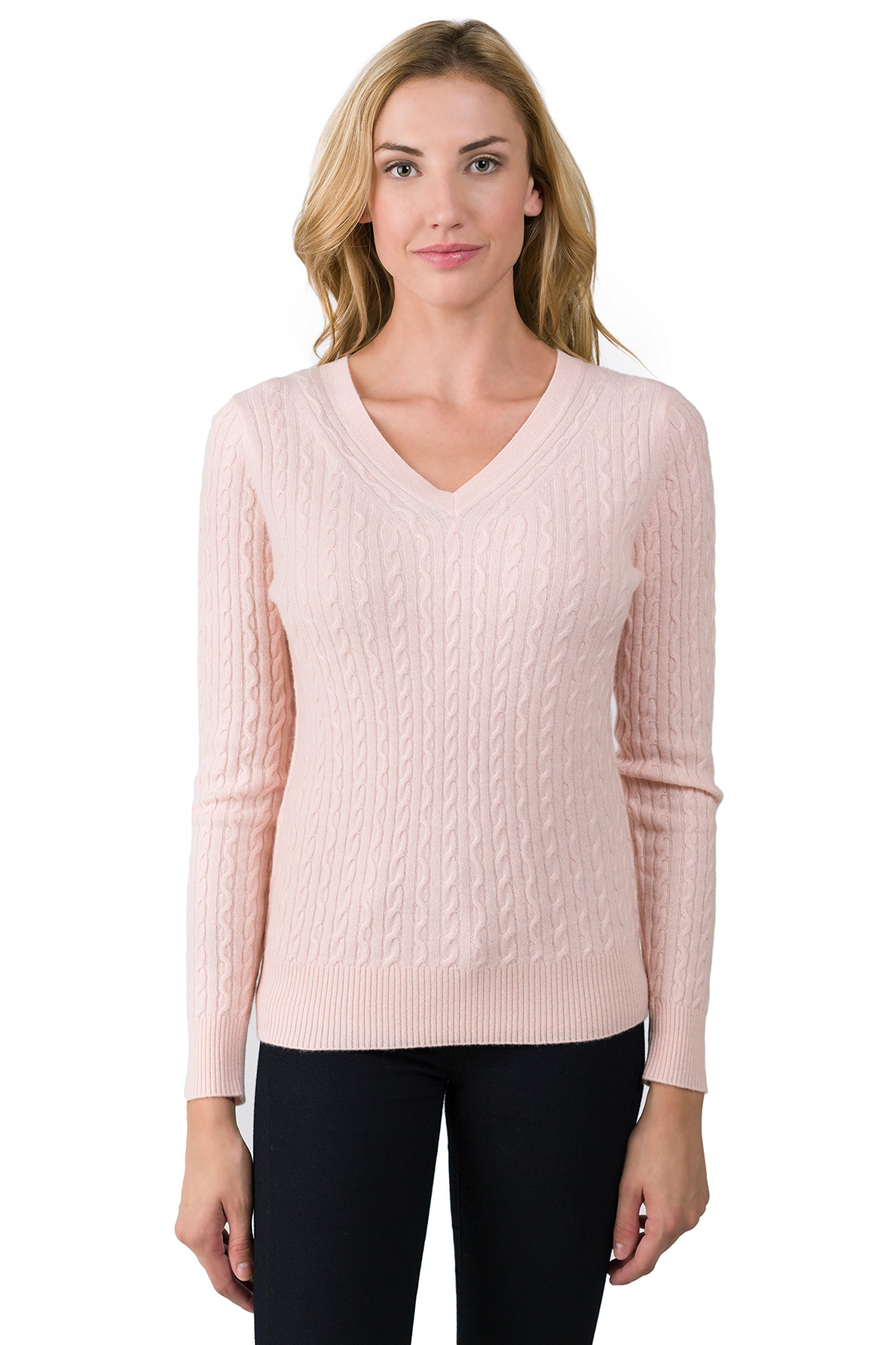 J CASHMERE Women's 100% Cashmere Long Sleeve Pullover Cable-knit V-neck Sweater Pink Pearl Medium