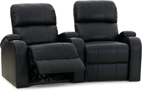 Octane Edge XL800 Row of 2 Seats, Curved Row in Black Leather with Manual Recline