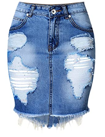 57d2111241 chouyatou Women's Retro High-Waist Boyfriend Ripped Holes Denim Skirt  (X-Small,