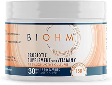 BIOHM Vitamin C Immune Support Probiotic Supplement; Immune System Booster Probiotics with VIT C; Immunity Booster Vitamin C Supplement for Immunity Support; Vegetarian Friendly, 30 Capsules