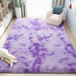 ST. BRIDGE Modern Indoor Abstract Shag Area Rug for Bedroom Living Room Fluffy Soft Kids Room Nursery Rug Home Decor, Anti-Skid Large Fuzzy Accent Rugs for Children Boys Girls, Purple 4 x 6 Feet