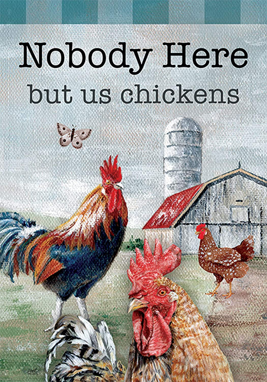 Custom Decor Nobody Here But Us Chickens Farm - Standard Size, 28 x 40 Inch, Decorative Double Sided, Licensed and Copyrighted Flag, Printed in The USA