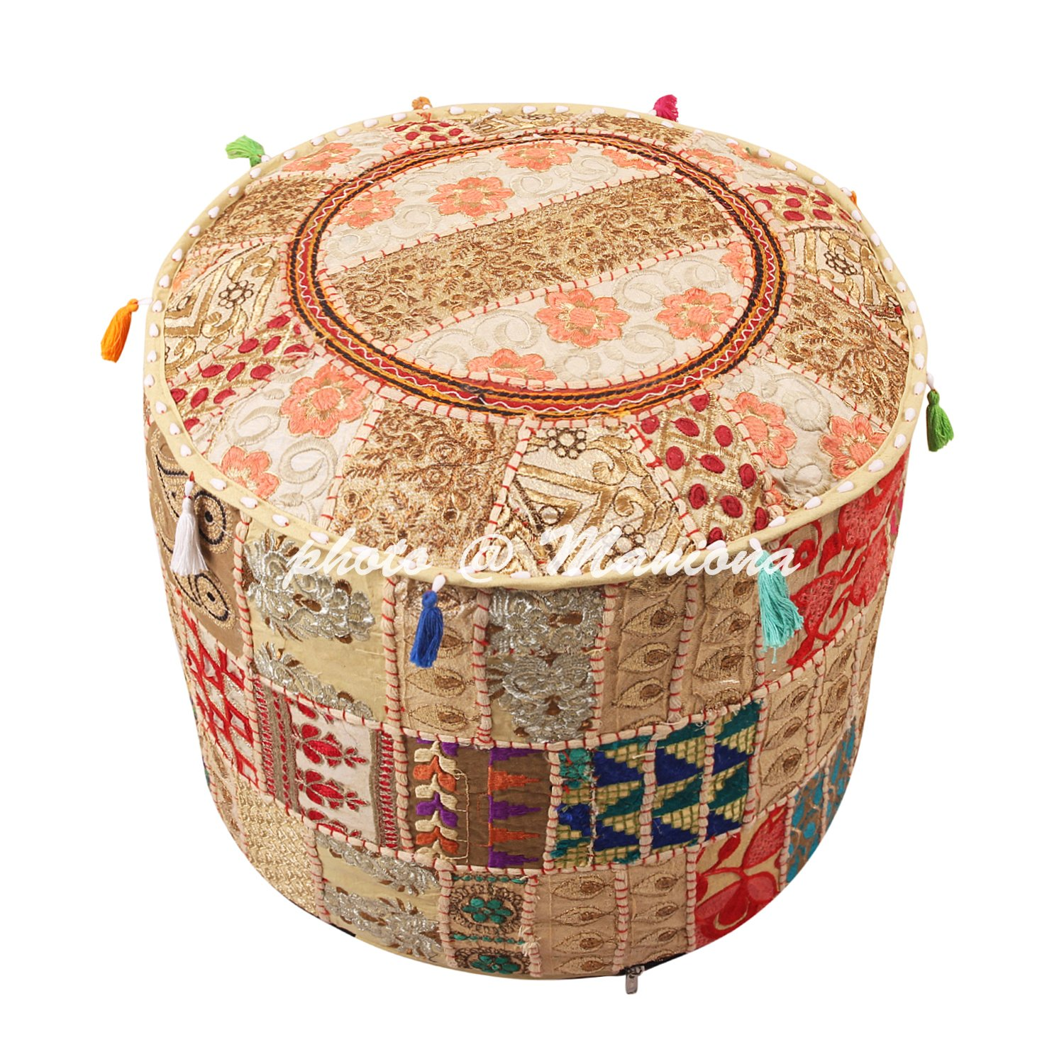 Maniona 18 Round Ethnic Cotton Patchwork Embroidered Ottoman Stool Pouf Cover Beige Floral Bean Bag Pouf Foot Rest Indian Decor ManionaCrafts