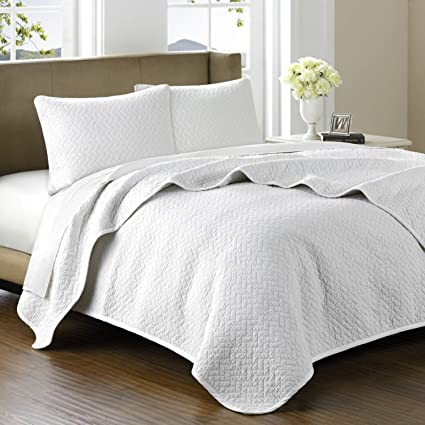 Elegant Hampton Hill Bellville Cotton Quilted Coverlet Set, Queen, White