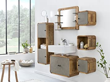 Woodkings Badmobel Set Dingle Holz Pinie Rustikal Und Betonoptik