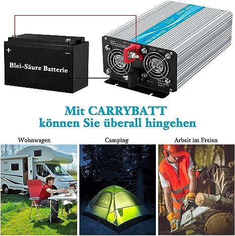 CARRYBATT Power Inverter Onda Sinusoidale Pura 2000W 4000W Invertitore di Potenza DC da 12V a AC 220V 230V con Telecomando con Presa AC /& 2.1A Porta USB