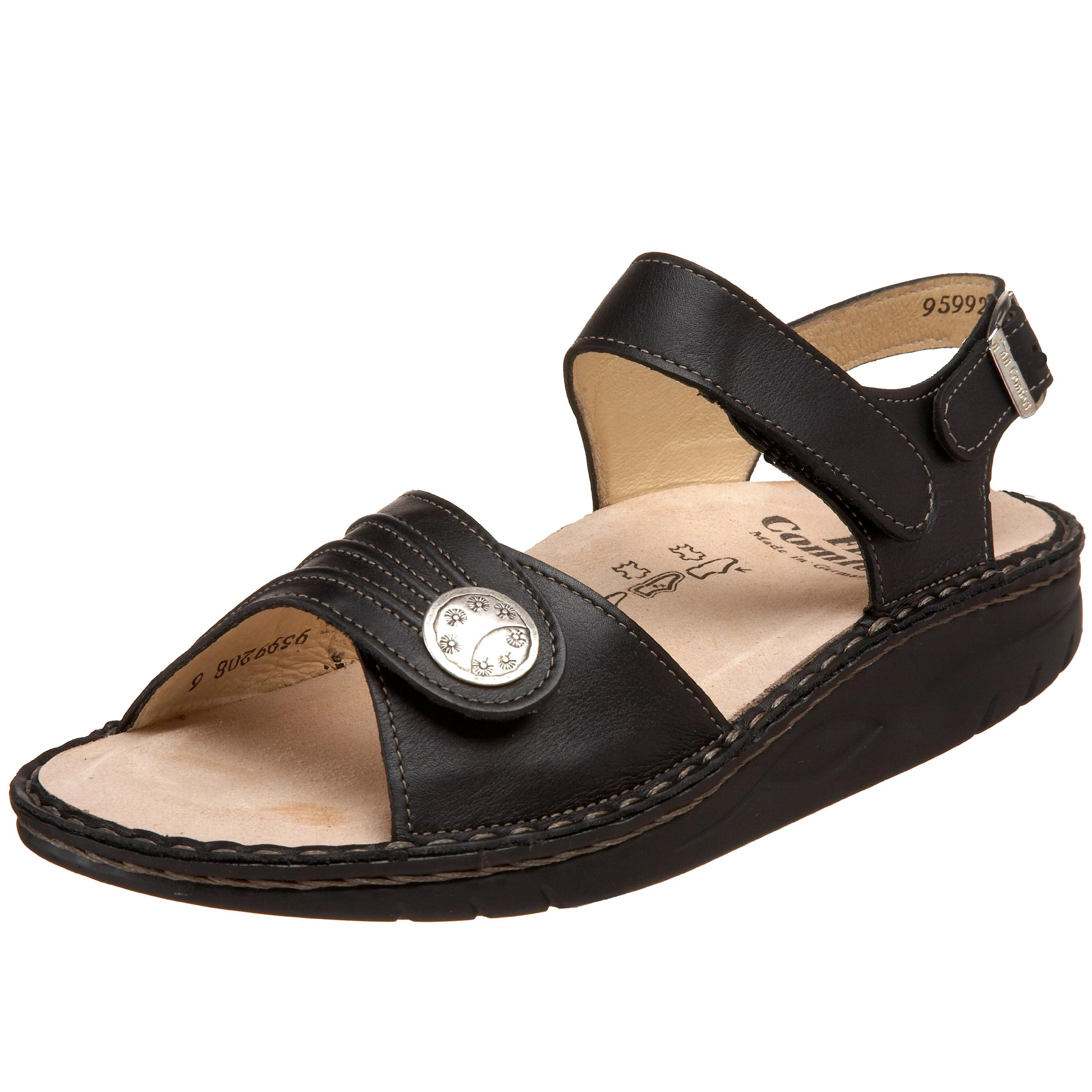 Finn Comfort Sausalito 01572 014099 women sandal in black leather 148, Black, 4 F UK by Finn Comfort