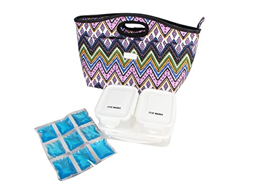 232963979df0 Amazon.com  Steve Madden Luggage Insulated Lunch Tote Bag (Patchwork  Orchid)  Clothing