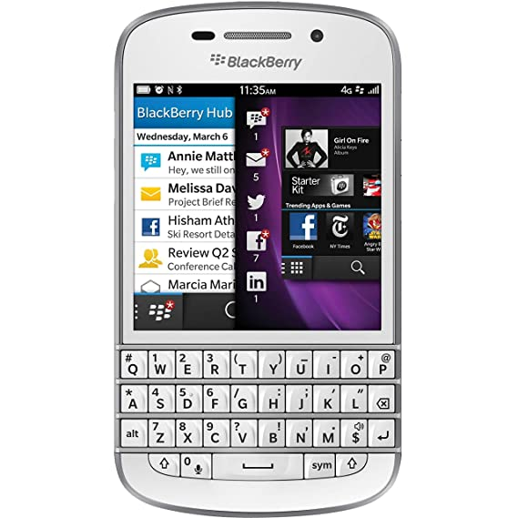 Blackberry Q10 16GB Unlocked GSM 4G LTE Keyboard + Touchscreen Phone - White