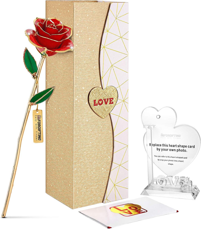 FORGIFTING Flores Rosa Roja Eterna Chapada de Oro 24K, con 1 Marco de Fotos, 1 Tarjeta de Felicitación - Regalo Originales para Mujer Madre Novia Padres en Aniversario, Cumpleaños, Navidad, Valentín