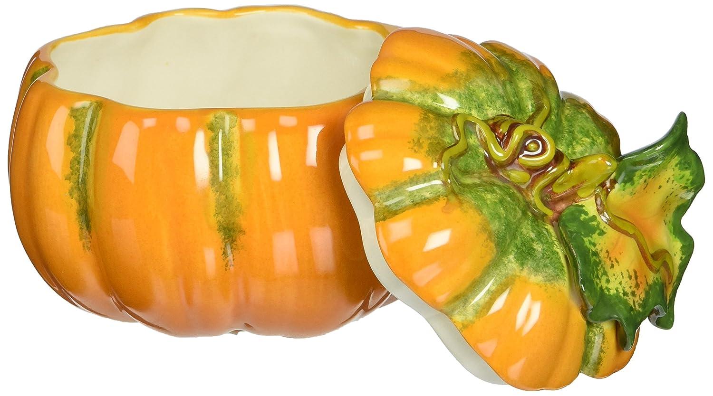 3-1//2-Inch Cosmos 10363 Fine Porcelain Lift Off Lid Small Pumpkin Box