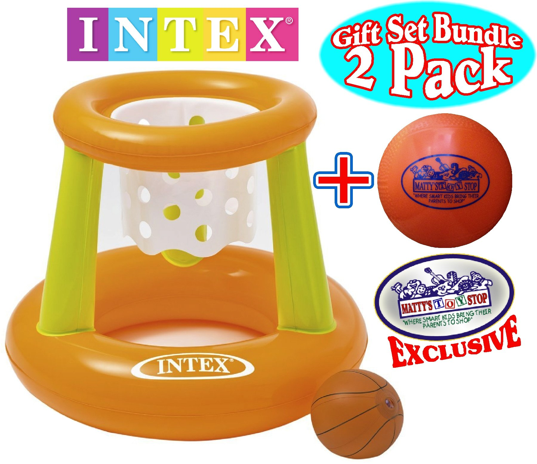 Intex Floating Hoops Basketball Game with Exclusive ''Matty's Toy Stop'' 4.25'' Vinyl Basketball Gift Set Bundle - 2 Pack