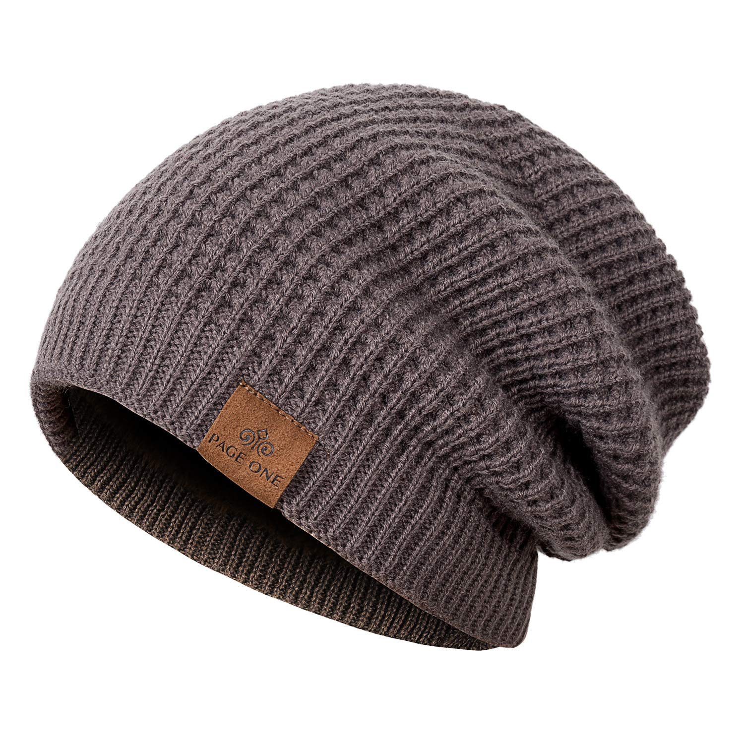 PAGE ONE Winter Beanie Hat Warm Knit Hat Men Thick Fleece Lined Winter Hat