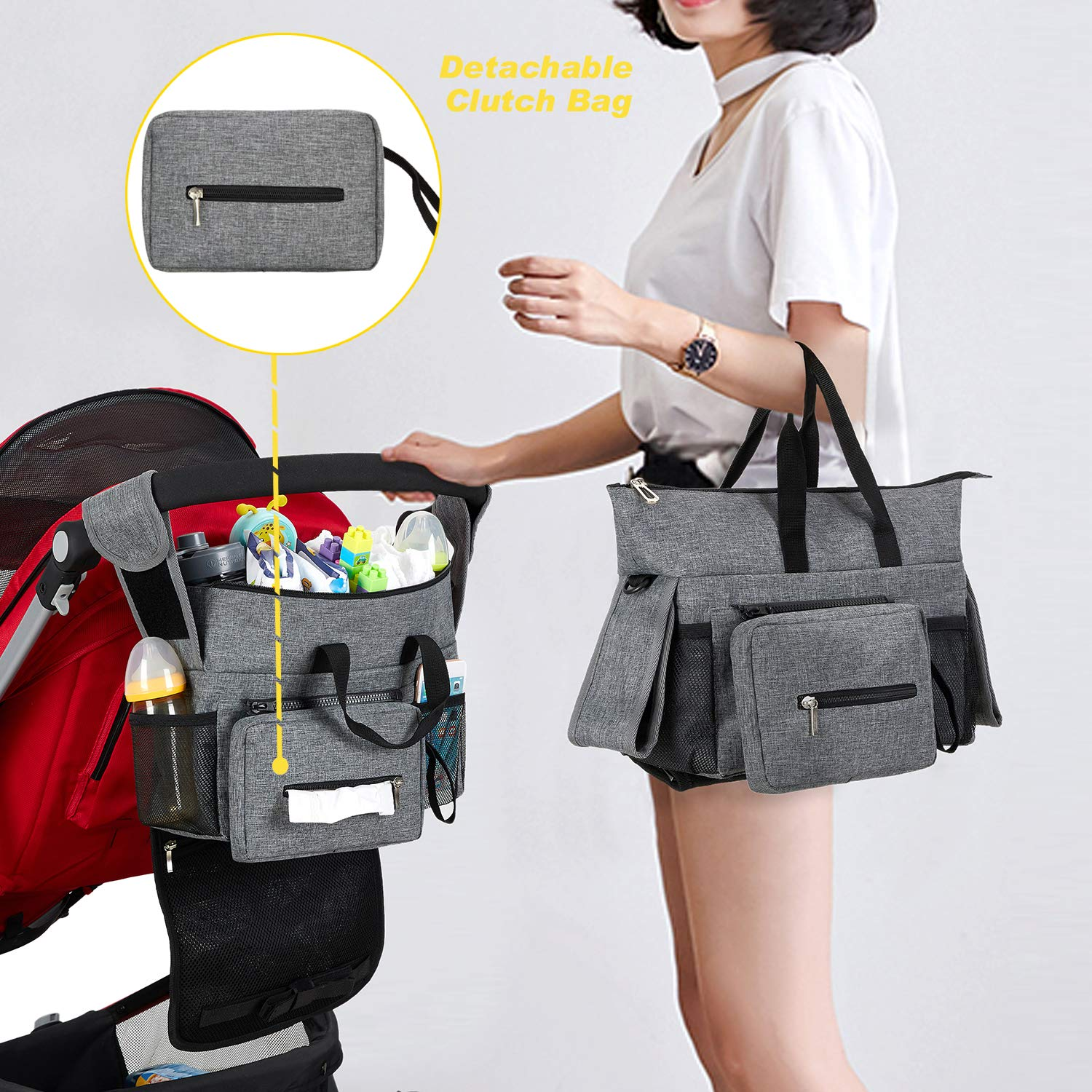 Extra Storage for Universal Stroller Tissue etc Secured Fit with Grip Handlebar for Diaper Phone Baby Stroller Organizer Caddy with 2 Thermal Insulation and Waterproof Cup Holder