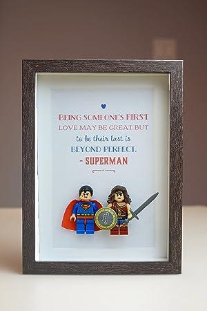 684e7e77c Lego Minifigure Style Framed Art Superhero Superman Wonder Women for Daddy  Birthday Xmas Anniversary Gift: Amazon.ca: Home & Kitchen