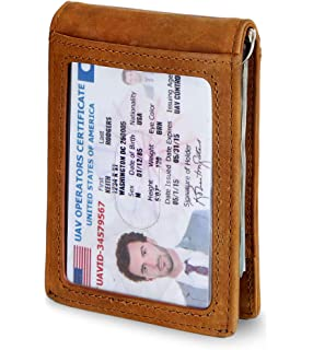 ed81712ff59 SERMAN BRANDS RFID Blocking Slim Bifold Genuine Leather Minimalist Front  Pocket Wallets for Men with Money