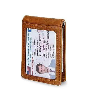 5f6865d9b8d Travel Wallet RFID Blocking Bifold Slim Genuine Leather Thin Minimalist  Front Pocket Mens Wallets with Money