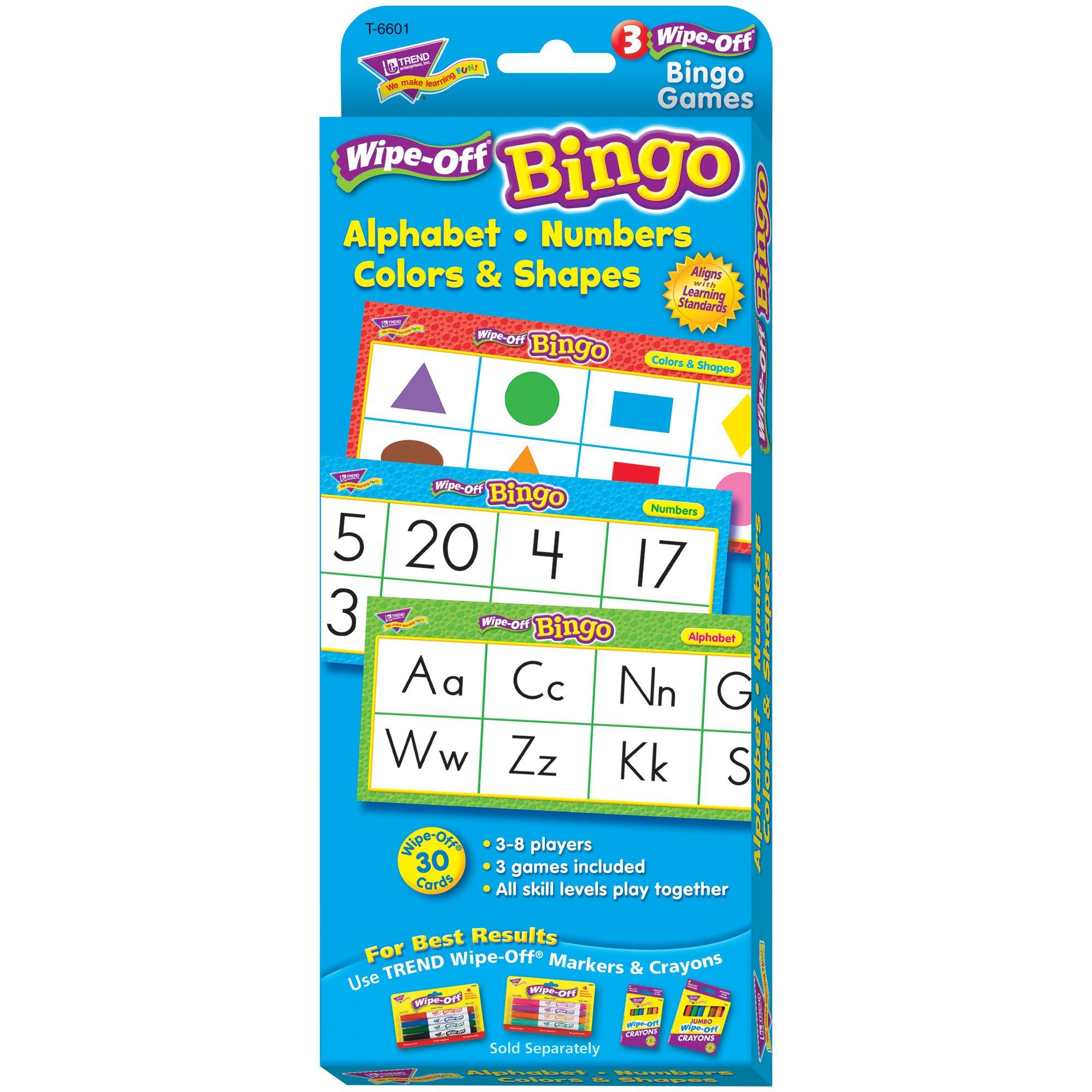 Trend Enterprises Inc Alphabet, Numbers, Colors & Shapes Wipe-Off Bingo