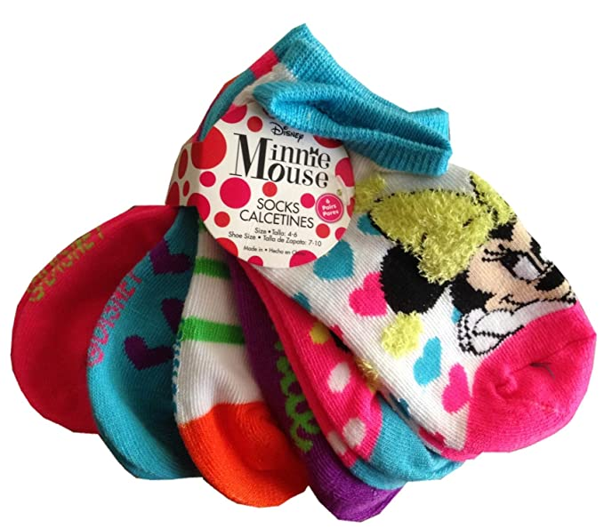 MINNIE MOUSE - 6 Pack Of Licensed Kids Socks - size S (4-6