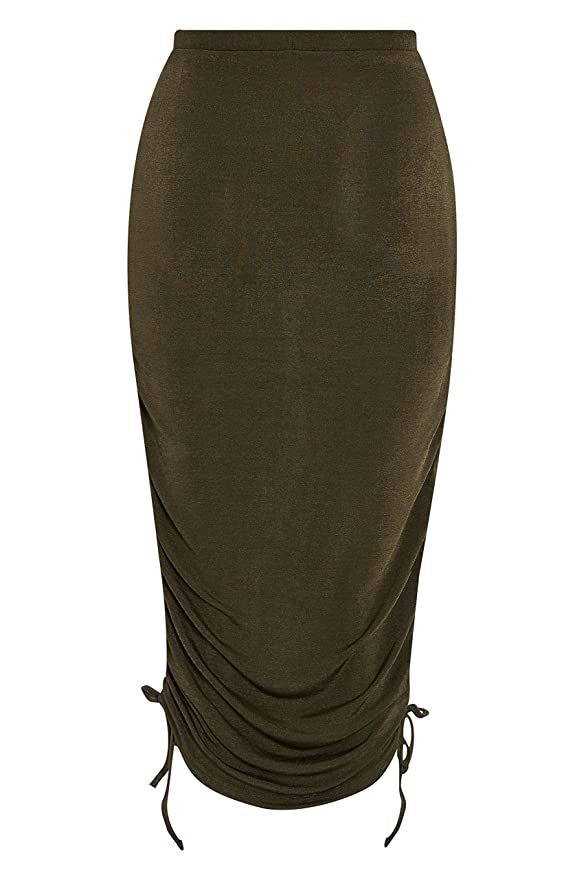 next Mujer Falda Ceñida Metalizada Caqui EU 42 (UK 14): Amazon.es ...