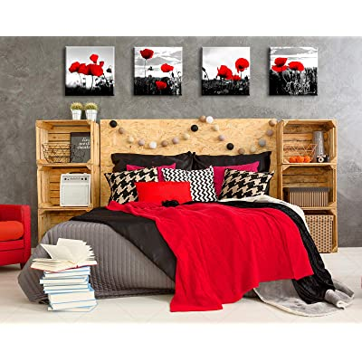 Buy Red Wall Decor Bedroom Decor For Couples 4 Pcs Sets Poppy Pictures For Bathroom Accessories Canvas Print Black White Kitchen Living Room Decorations 12x12 Framed Artwork Online In Poland B08kszvfkq